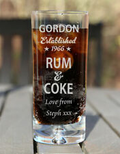 Personalised Engraved Boxed Rum & Coke Glass Birthday Xmas Gift Est. Star