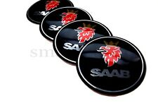 4x60mm SAAB Nero Auto Ruota center caps badge CURVA in Plastica Adesivo Logo
