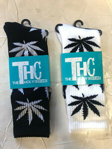 THC The Holy Couture Marijuana Weed Socks - Black/White 1 Pair