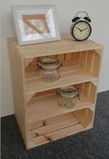 Large Wooden Apple Crate 2 Shelves Vintage Style Handmade Display Unit Natural