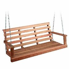 Wood Porch Swing Patio Furniture Outdoor Bench Hanging Seat Chair Sailing Hoop