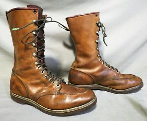 MENS VINTAGE CHIPPEWA BROWN LEATHER HIKING FARM CASUAL WORK BOOTS SZ 10.5 D
