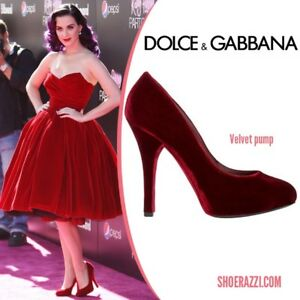 Dolce & Gabbana Red Velvet Pumps Sz 36