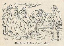 A2994 Morte di Anita Garibaldi - Xilografia - Stampa Antica del 1910 - Engraving