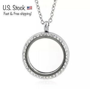 Living Memory Glass Round Locket Photo Necklace Pendant S1