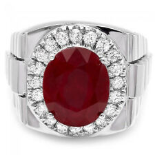 10.30Ct Ruby and Natural  Diamond 14K Solid White Gold Men's Ring