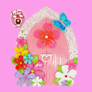 A Magical Pink Floral Fairy Door for your Fairy Garden by Pink Poppy Gift Boxed