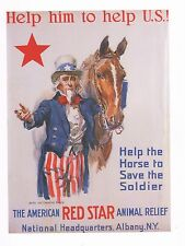 """WORLD WAR I POSTER ART """"AMERICAN RED STAR ANIMAL RELIEF"""" HELP HORSE SAVE SOLDIER"""