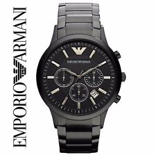 NEW EMPORIO ARMANI MENS BLACK ION PLATED CHRONOGRAPH WATCH - AR2453