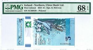 Northern Ireland(UK)- Ulster Bank 5 Pounds 2018 PMG 68 EPQ s/n AC269520 Polymer