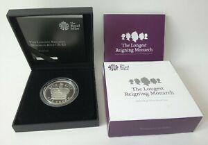 Longest Reigning Monarch Silver £5 proof coin 2015 - 28.28g .925 case coa - 1199