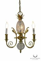Brass & Chrystal Pineapple Small Chandelier Possibly Waterford
