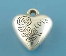 """50 Pendentifs Breloques Charms Coeur Fleur """"LOVE"""" 13x14mm"""