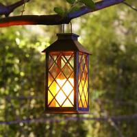 Retro Solar LED Candle Lantern Outdoor Hanging Lamp Garden Landscape Lights