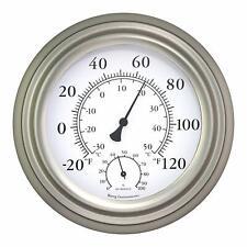 Thermometer Hygrometer 8 in. Satin Nickel Indoor Outdoor Humidity Measurement