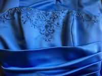 David's Bridal Strapless A-Line Blue Gown Runching Embroidery Beads Size 10
