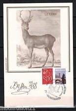 1988/CARTE POSTALE MAXIMUM **LE CERF-BUFFON-FAUNE**TIMBRE-STAMP.MONTBARD