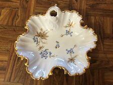 "Vintage Rosedale China Blue Gold White Floral Bon-Bon Candy Nut Dish Plate 8"""