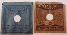 TWO VINTAGE UK BROADCAST TWELVE  10 inch SLEEVES for 78 RPM RECORDS 1930's