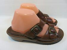 "EARTH SHOE ""Oak 3""  Brown Leather Sandals With Brass Buckles Women's 8.5 EUC"