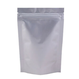 100 Heavy Duty Silver Stand Up Mylar QuickQlick™ Resealable Bags 10x15cm (4x6in)