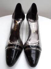 Size 5.5 Women's SHOES HEELS black clear patent leather AZUREE CANNES vintage