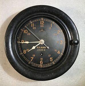 VINTAGE SETH THOMAS U.S. NAVY SHIPS  CLOCK  NO 12193-E FOR  PARTS OR REPAIR