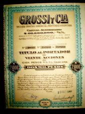 Grossi y Cia, Argentina Share certificate 1960