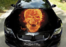 Flame Skull Full Color Graphics Adhesive Vinyl Sticker Fit any Car Bonnet #089