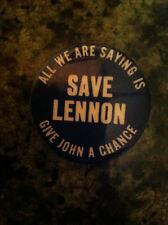 John Lennon Save Lennon button pin 1974 Beatles convention original