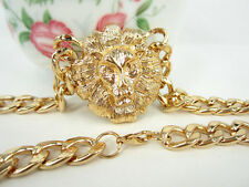 Necklace Top Fashion Lady Pendant Gift Golden Metal Textured Lion Head Chain