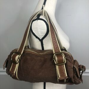 Fossil brown leather fabric satchel tote bag