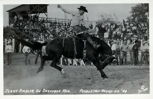 1948 Jerry Ambler on Okanogan Red Pendleton Round-Up 1948 Postcard RPPC Photo