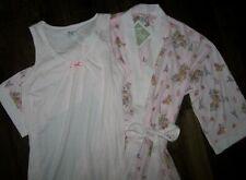NWT Aria White/Pink PARIS ROBE + GOWN SET M Floral/Dots HOT AIR BALLOONS/Eiffel