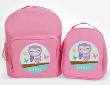 Bright Star Kids Personalised Matching Backpack and Lunch Bag Combo - Owl Themed