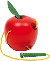 Children's Lacing Apple Threading Educational Wooden Learning Toy - Red