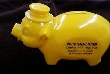 Vintage Yellow Plastic Piggy Bank - United Federal Savings