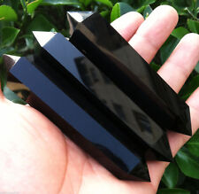 100% Natural Obsidian Quartz Crystal Stone Point Double Terminated Wand Healing