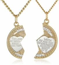14k Gold-Filled Two-Tone Round Mizpah Pendant Necklace with Stainless Steel Chai