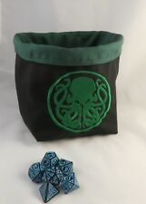 Square Dice Bag - Green Cthulhu Reversible Cotton Bag - Tile - Drawstring Pouch
