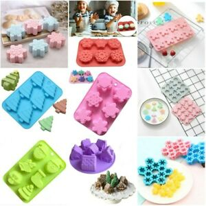 Silicone Christmas Cake Mould Chocolate Cookies Baking Soap Jelly Ice Tray Molds
