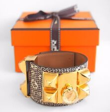 RARE New Authentic HERMES CDC Collier de Chien OMBRE Ring Lizard GHW Gold