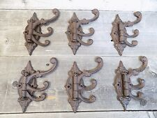6 Cast Iron Antique Style SWIVEL Coat Hooks Hat Hook Rack Hall Tree Restoration!