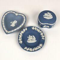 LOT (3) Wedgwood Blue Jasperware Ash Tray Kidney Bean Trinket Box Plate
