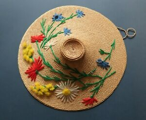 **Vintage 1940s Wool Embroidered Miniature Straw Coolie Hat: 26.5cm Wide