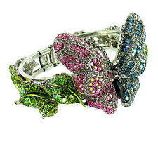 Blue and Pink on Antique Silver Butterfly Bracelet