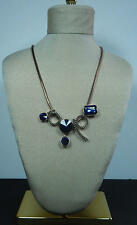 FASHION NECKLACE BLUE CRYSTAL  ROSE GOLD COLOR CHAIN MATCHING EARRINGS COSTUME