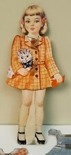 """Vintage Paper Doll with Magnetic Paper Clothes Rabbit Kitten Puppy Very Cute 10"""""""