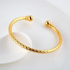 Women's Open Bangle Bracelet 18k Yellow Gold Filled Charms Fashion Jewelry Gift