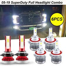 For Ford F250 F350 F450 2005-2019 6000K White LED Headlight Fog Light Bulbs 6pcs